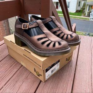 Dr Martens Jocelyn Sandals Heel Closed Floral Buckle Cooper Metallic Leather